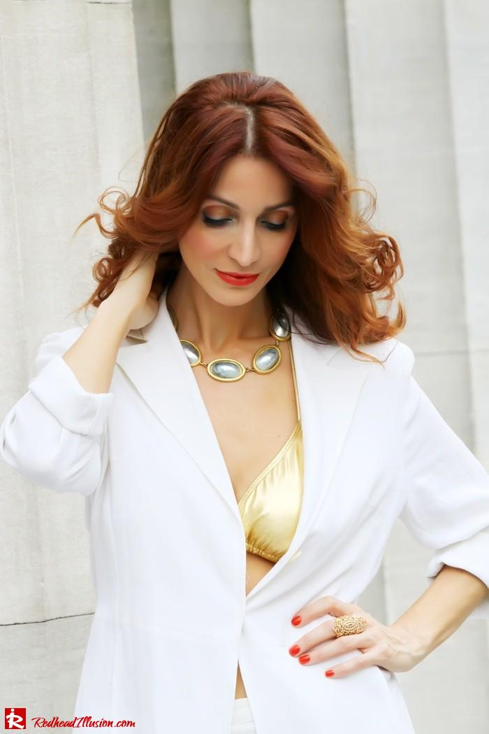 Redhead Illusion - Golden touch - White jacket- Androgynous style--10