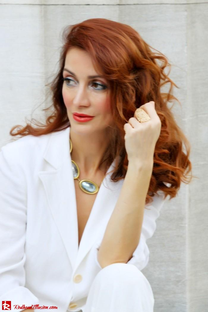 Redhead Illusion - Golden touch - White jacket- Androgynous style--11