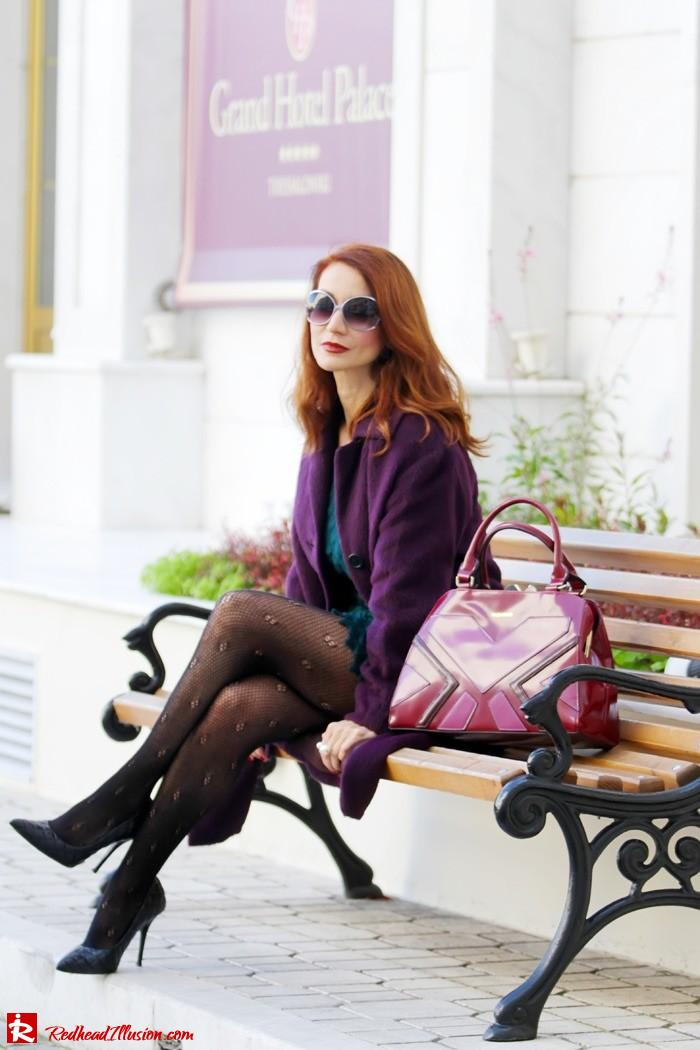 Redhead Illusion - Green and Purple - Guy Laroche Dress with Boss Coat and Valentino Bag-03