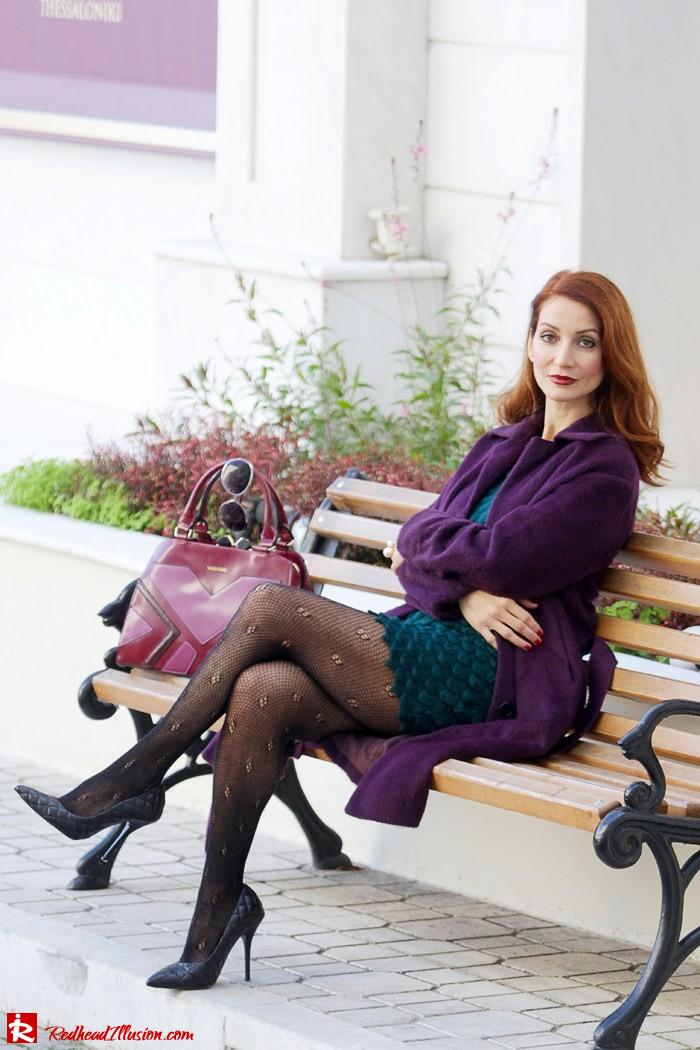 Redhead Illusion - Green and Purple - Guy Laroche Dress with Boss Coat and Valentino Bag-04