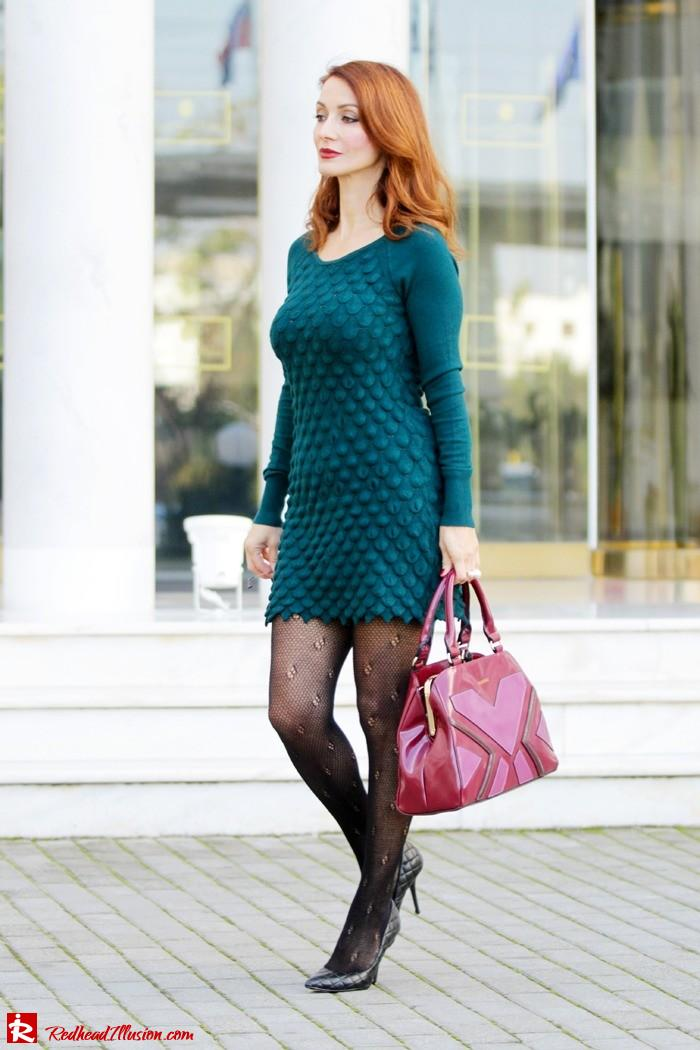 Redhead Illusion - Green and Purple - Guy Laroche Dress with Boss Coat and Valentino Bag-07