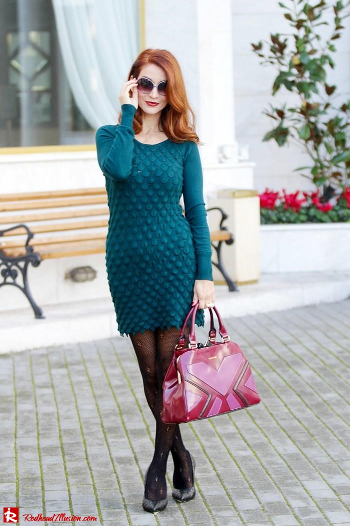 Redhead Illusion - Green and Purple - Guy Laroche Dress with Boss Coat and Valentino Bag-09