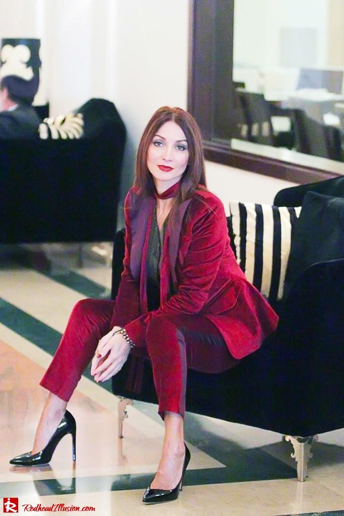 Redhead illusion - Red velvet - Altuzarra for target - Velvet Suit-11