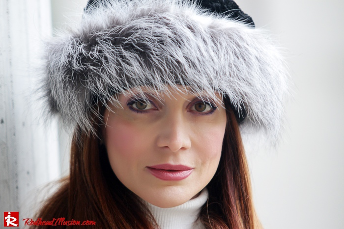 Redhead Illusion - Fur play - Faux Fur Coat with Furry Hat and Karen Millen Belt and Blouse-11