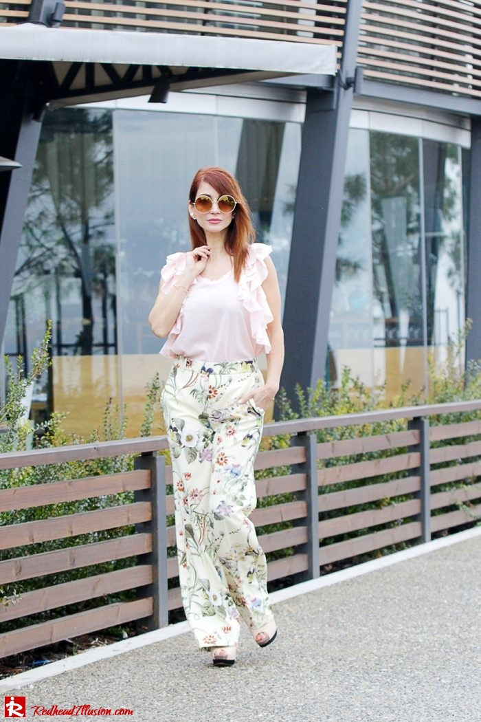 Redhead Illusion - Fashion Blog by Menia - Flower Power - Denny Rose Ruffle Top with Zara Pants-02