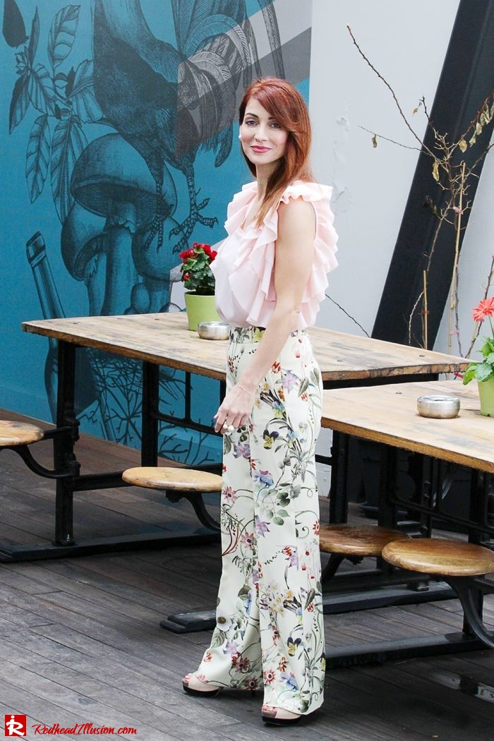 Redhead Illusion - Fashion Blog by Menia - Flower Power - Denny Rose Ruffle Top with Zara Pants-11