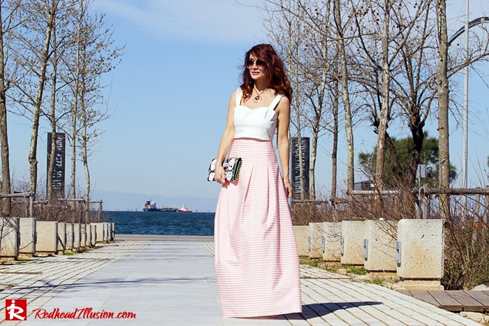 Redhead Illusion - Fashion Blog by Menia - Spring Pink! - Pink Skirt with Crop Top-02
