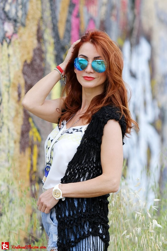 Redhead Illusion - Fashion Blog by Menia - Bohemian Summer - Knitted Vest - Distressed Denim Shorts-08