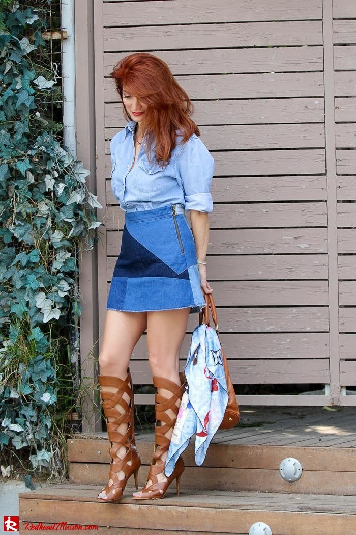 Redhead Illusion - Fashion Blog by Menia - Double Denim - Chambray Shirt with Jean Skirt-03