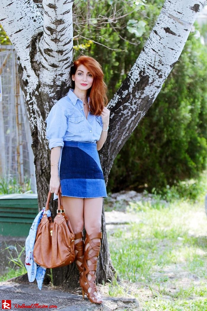 Redhead Illusion - Fashion Blog by Menia - Double Denim - Chambray Shirt with Jean Skirt-05