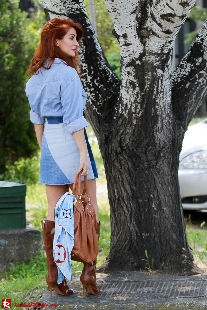 Redhead Illusion - Fashion Blog by Menia - Double Denim - Chambray Shirt with Jean Skirt-07