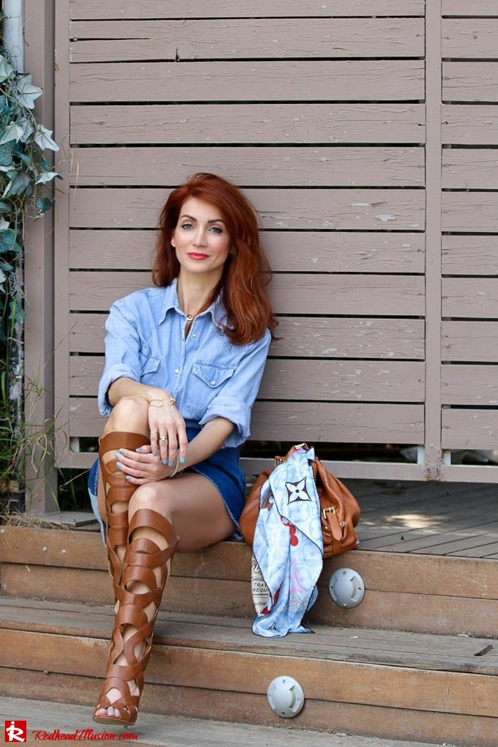 Redhead Illusion - Fashion Blog by Menia - Double Denim - Chambray Shirt with Jean Skirt-11