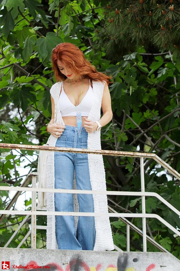 Redhead Illusion - Fashion Blog by Menia - Bohemian Summer Part 2 - Knitted Vest - High waisted Flared Denim - Bikini Top-03