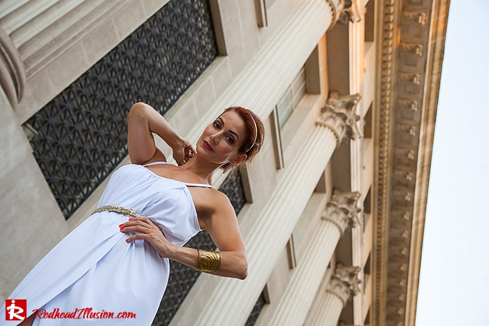 Redhead Iillusion - Fashion Blog by Menia - Grecian style - White Draped Dress-02