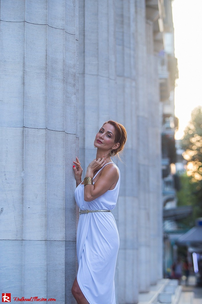 Redhead Iillusion - Fashion Blog by Menia - Grecian style - White Draped Dress-07