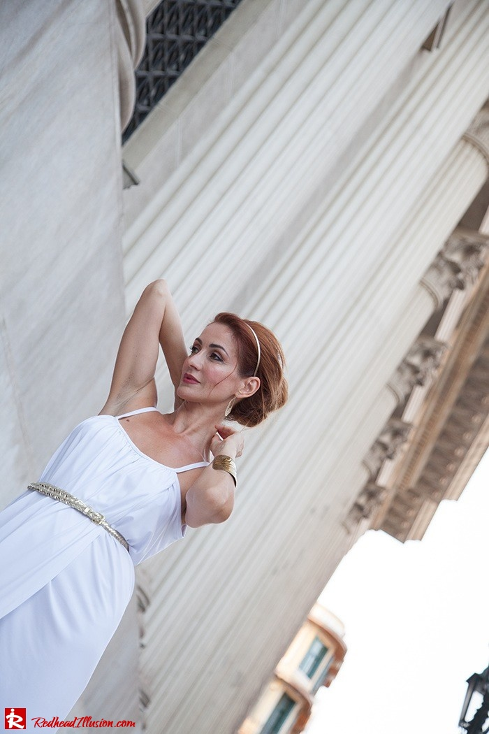 Redhead Iillusion - Fashion Blog by Menia - Grecian style - White Draped Dress-09