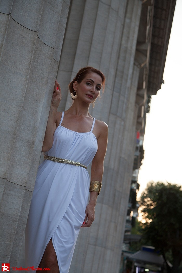 Redhead Iillusion - Fashion Blog by Menia - Grecian style - White Draped Dress-10