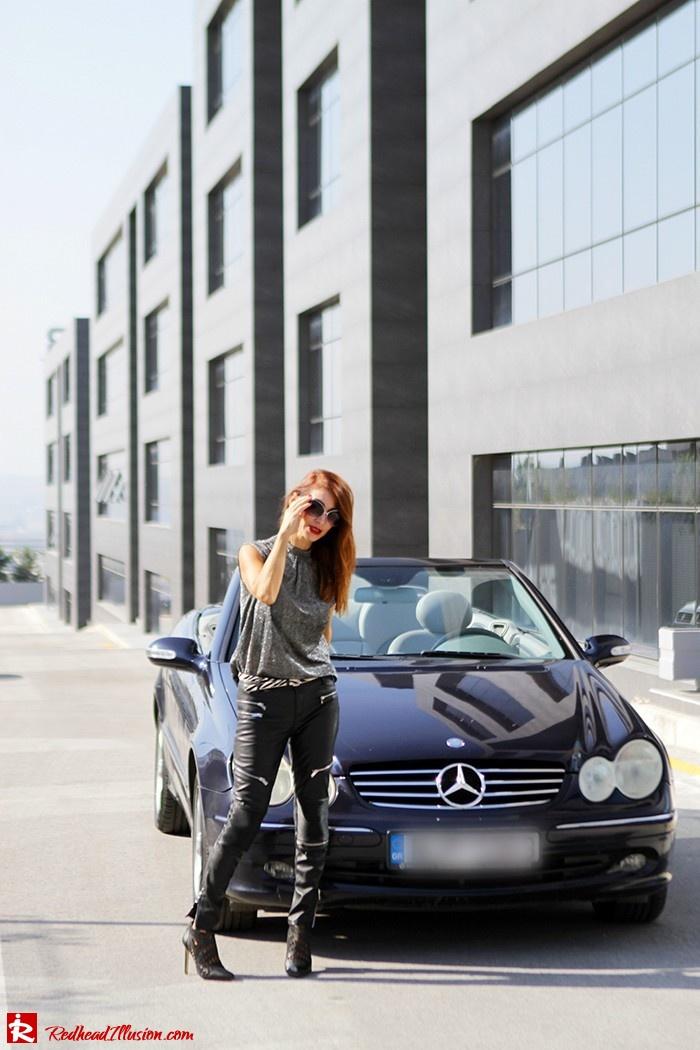 Redhead Illusion - Fashion Blog by Menia - Powerful Leather - Balmain Trench Coat - Zara Pants-02