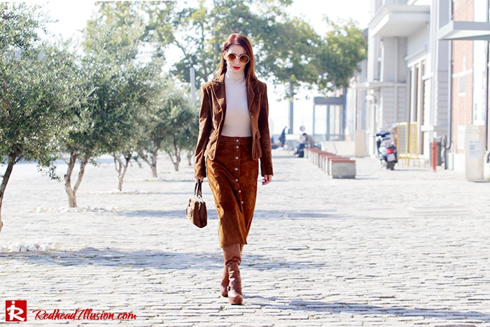 Redhead Illusion - Fashion Blog by Menia - Cafe au lait - Zara- Skirt - Karen Millen Blouse-06
