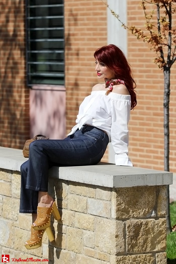 Redhead Illusion - Fashion Blog by Menia - Off-the-shoulder - Sexy and Feminine - Denny Rose Shirt - Kick Flare Jeans-04