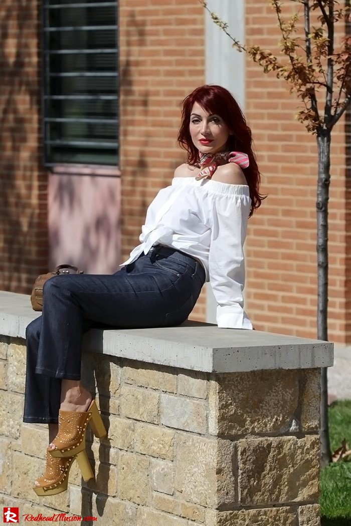 Redhead Illusion - Fashion Blog by Menia - Off-the-shoulder - Sexy and Feminine - Denny Rose Shirt - Kick Flare Jeans-06