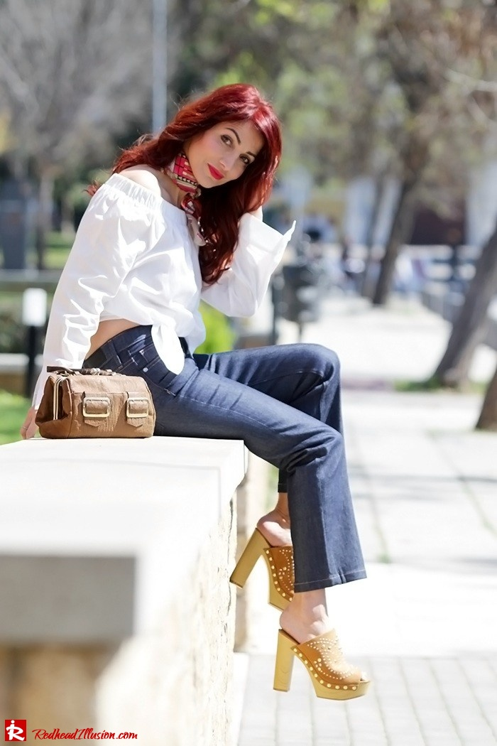 Redhead Illusion - Fashion Blog by Menia - Off-the-shoulder - Sexy and Feminine - Denny Rose Shirt - Kick Flare Jeans-07