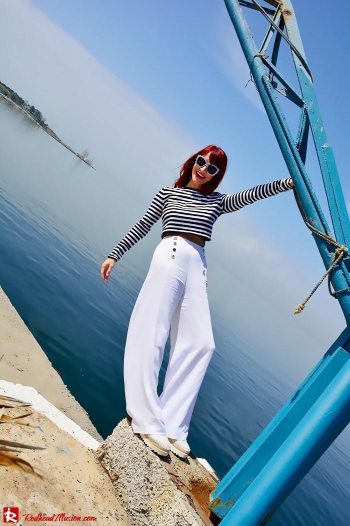Redhead Illusion - Fashion Blog by Menia - Sail Away - Top Zara - Flatforms - Navy Style-04