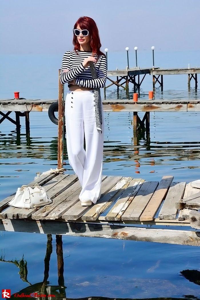 Redhead Illusion - Fashion Blog by Menia - Sail Away - Top Zara - Flatforms - Navy Style-09