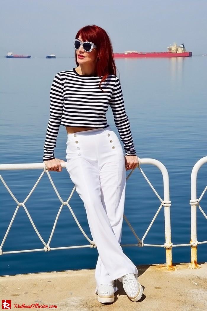 Redhead Illusion - Fashion Blog by Menia - Sail Away - Top Zara - Flatforms - Navy Style-11