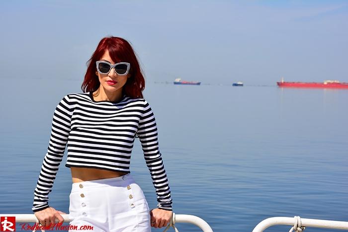 Redhead Illusion - Fashion Blog by Menia - Sail Away - Top Zara - Flatforms - Navy Style-12