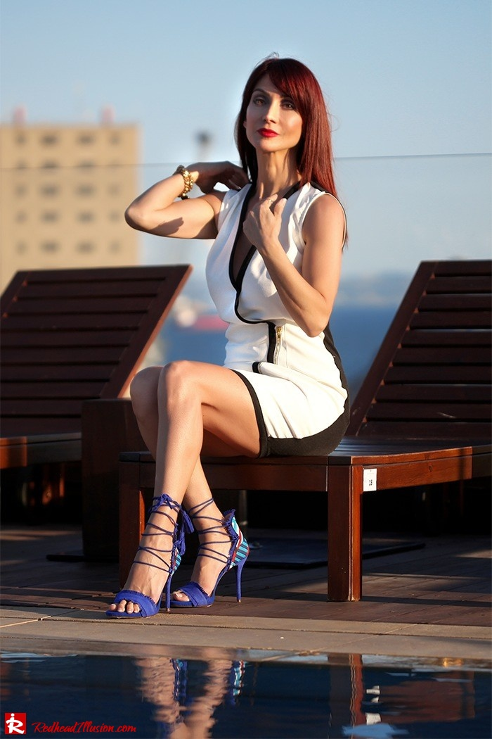 Redhead Illusion - Fashion Blog by Menia - Lately - 01 - Beside a Pool - Missguided Dress - Jessica Simpson Heels