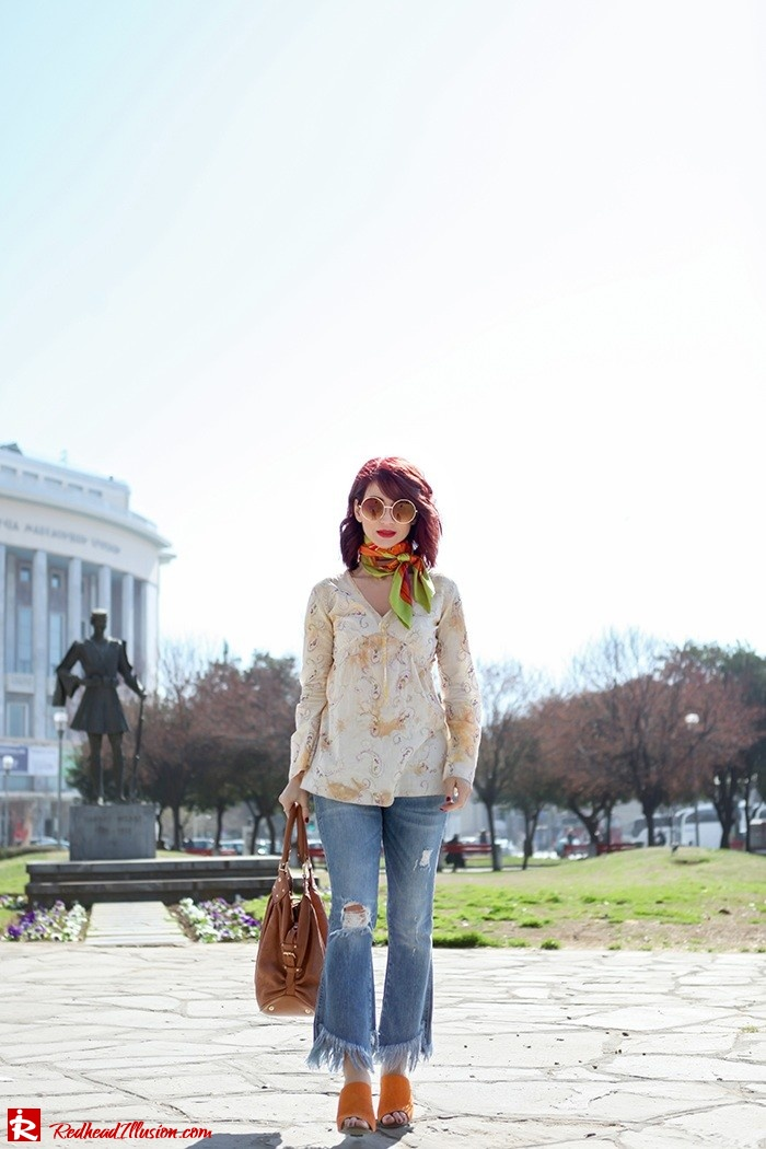 Redhead Illusion - Fashion Blog by Menia - Spring Fever - Jeans, Mules Zara - Scarf Hermes-02