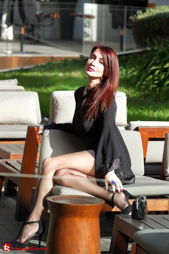 Redhead Illusion - Fashion Blog by Menia - Editorial - Bell Sleeve Dress - Yoins LBD Mini Black Dress-05
