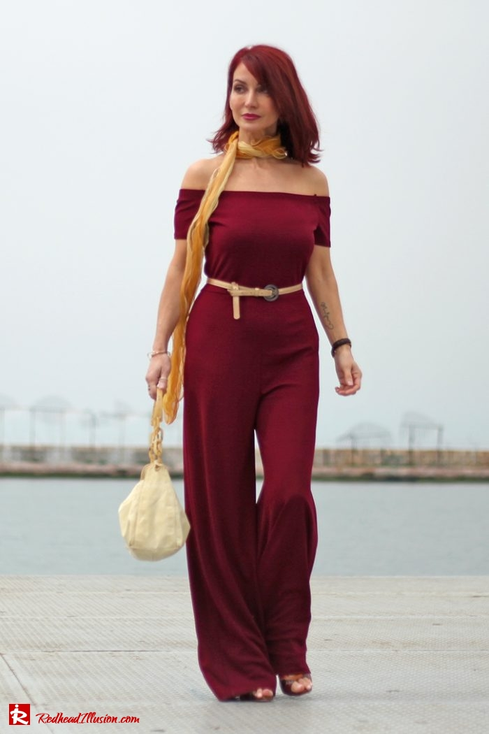 Redhead Illusion - Fashion - Blog by Menia - Editorial - Bordeaux - Lulus Jumpsuit-02