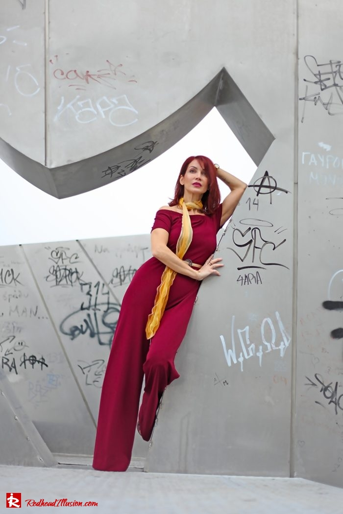 Redhead Illusion - Fashion - Blog by Menia - Editorial - Bordeaux - Lulus Jumpsuit-04