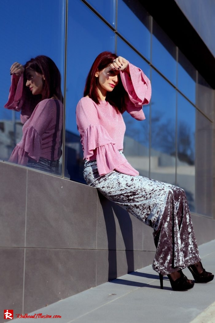 Redhead Illusion - Fashion Blog by Menia - Editorial - Fade to grey - Zara Velvet Pants - Denny Rose Blouse-05