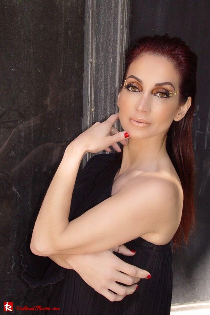 Redhead Illusion - Fashion Blog by Menia - Editorial - Golden Project - One Shoulder - Chiffon Dress-05
