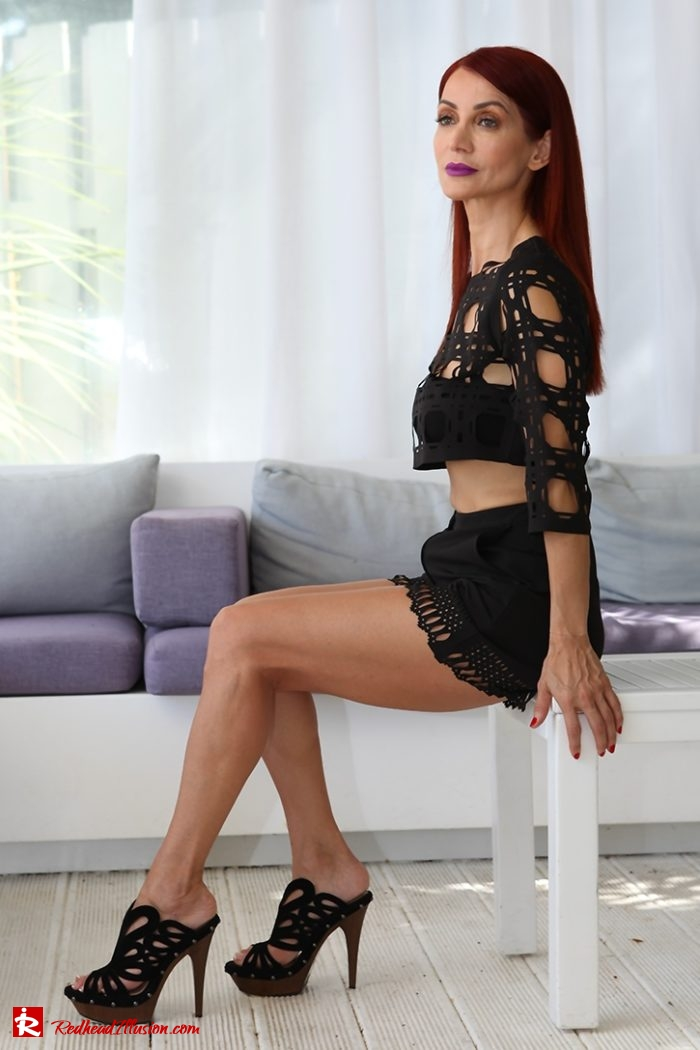Redhead Illusion - Fashion Blog by Menia - Editorial - Laser Cut - Shorts - Mules - Crop Top-06
