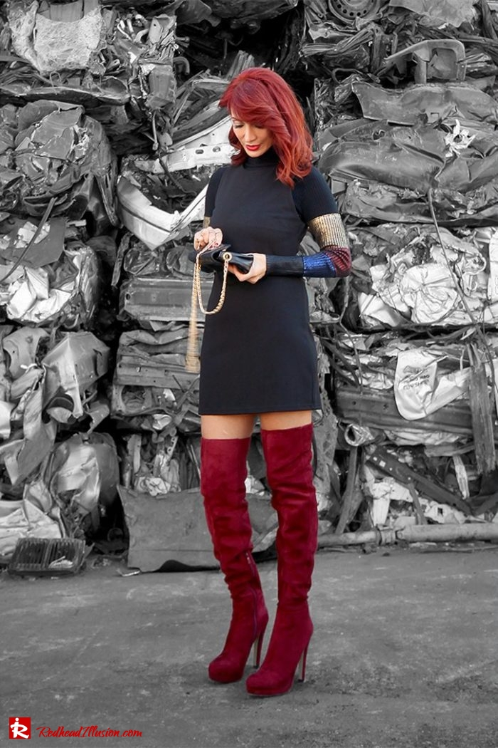 Redhead Illusion - Fashion Blog by Menia - Editorial - Layering - Denny Rose - Blouse - Over the knee Boots-03