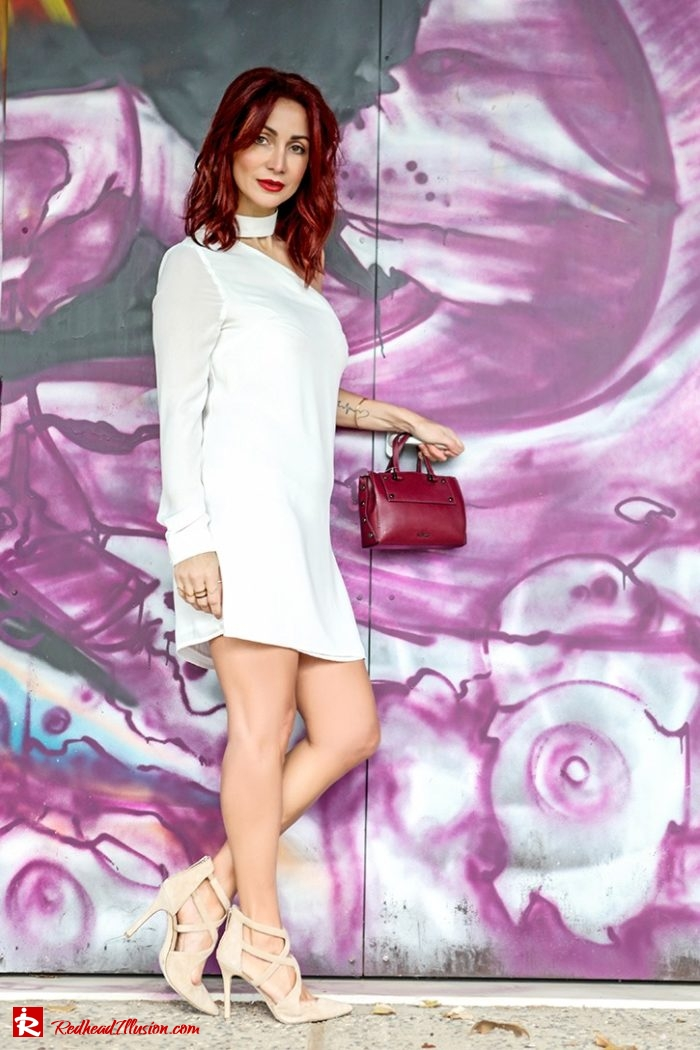 Redhead Illusion - Fashion Blog by Menia - Editorial - Mini Winter White - Mmissguided Dress-06