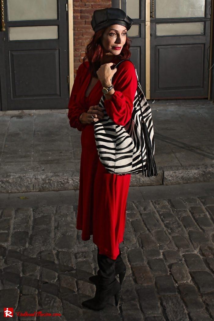 Redhead Illusion - Fashion Blog by Menia - Editorial - Rouge et noir - Dress - OTK Boots-06