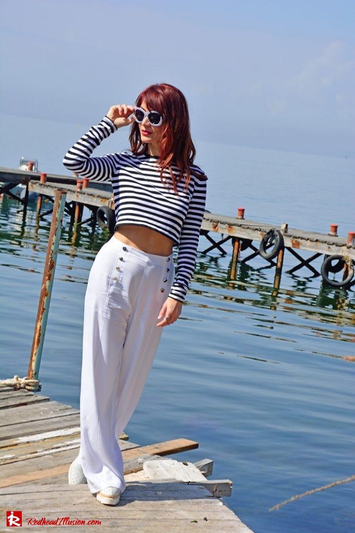 Redhead Illusion - Fashion Blog by Menia - Editorial - Sail away - Top Zara - Flatforms navy style-02
