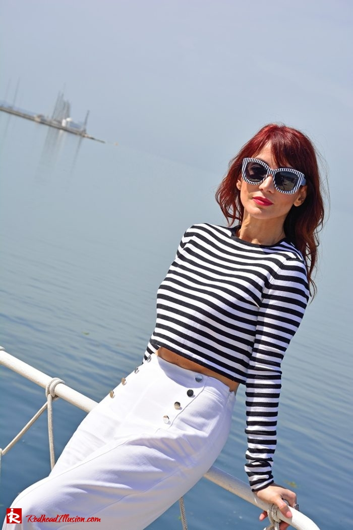 Redhead Illusion - Fashion Blog by Menia - Editorial - Sail away - Top Zara - Flatforms navy style-04
