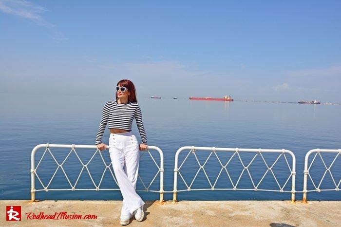 Redhead Illusion - Fashion Blog by Menia - Editorial - Sail away - Top Zara - Flatforms navy style-05