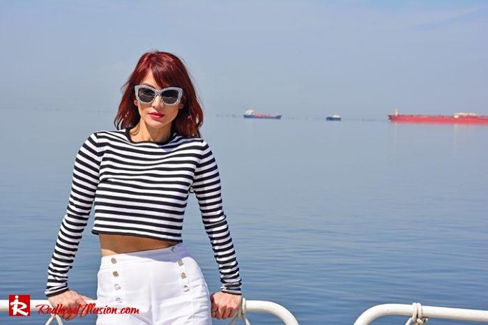 Redhead Illusion - Fashion Blog by Menia - Editorial - Sail away - Top Zara - Flatforms navy style-06