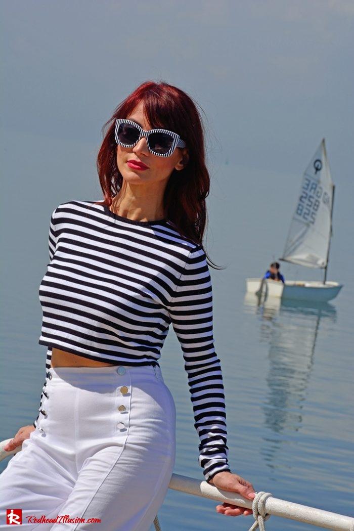 Redhead Illusion - Fashion Blog by Menia - Editorial - Sail away - Top Zara - Flatforms navy style-07