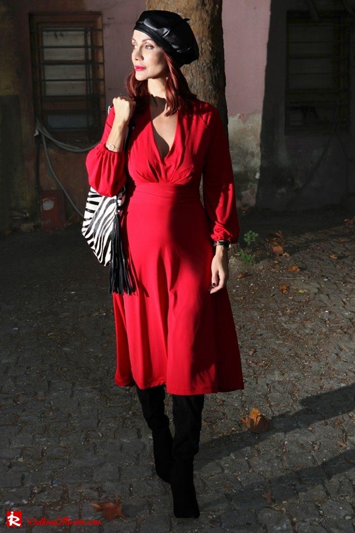 Redhead Illusion - Fashion Blog by Menia - Rouge et Noir - Dress - Otk Boots-02