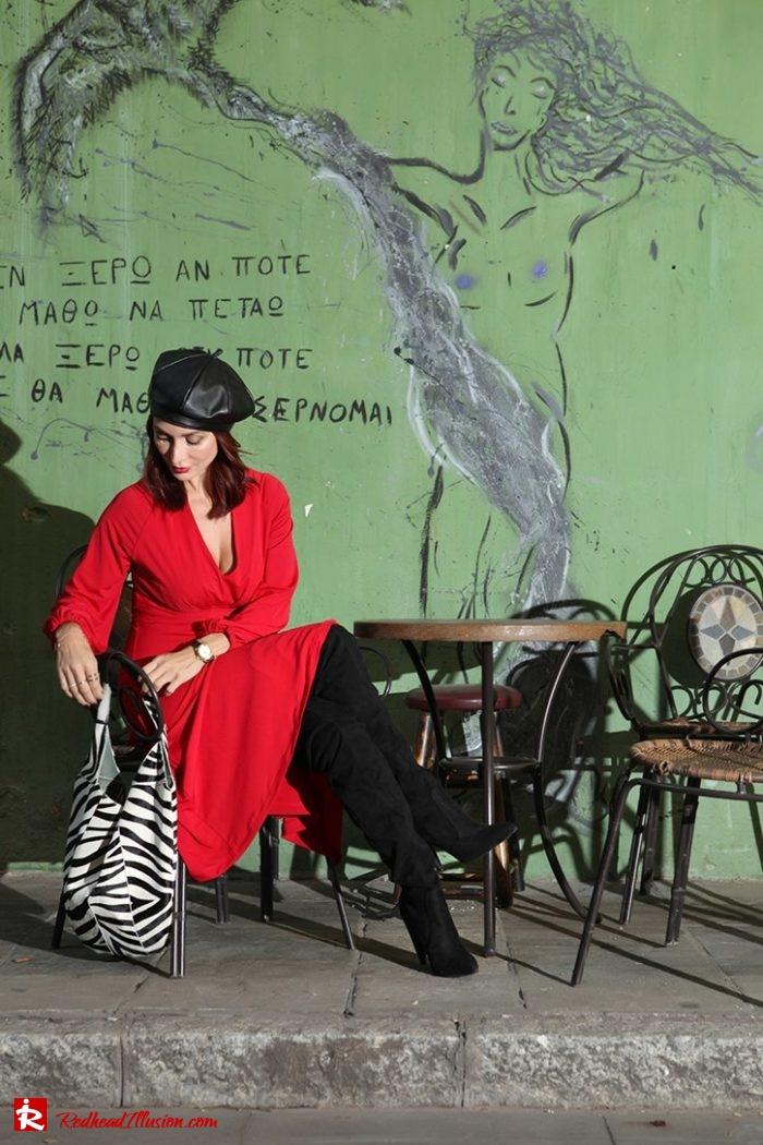 Redhead Illusion - Fashion Blog by Menia - Rouge et Noir - Dress - Otk Boots-07