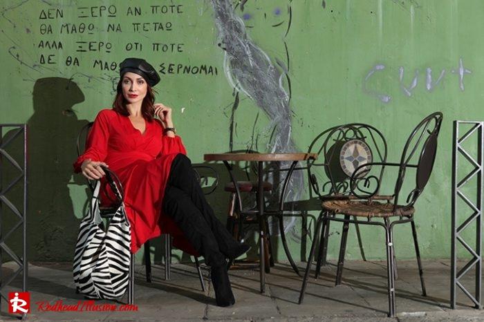 Redhead Illusion - Fashion Blog by Menia - Rouge et Noir - Dress - Otk Boots-08