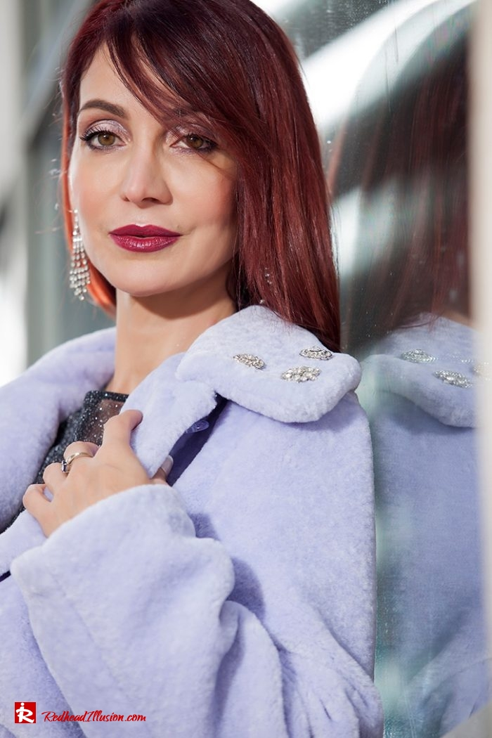 Redhead Illusion - Fashion Blog by Menia - Lavender Faux Fur Coat - Topshop-07